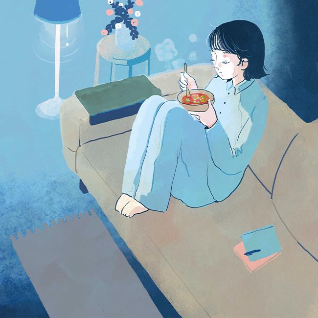 滑らかな生地とソファと、ミネストローネ
